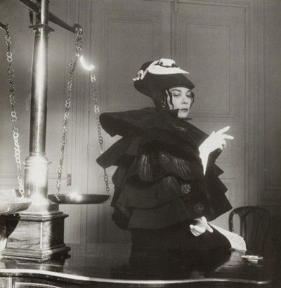 Leonor Fini disguised in Aubrey Beardsley creature, Paris, 1951, photography by André Ostier