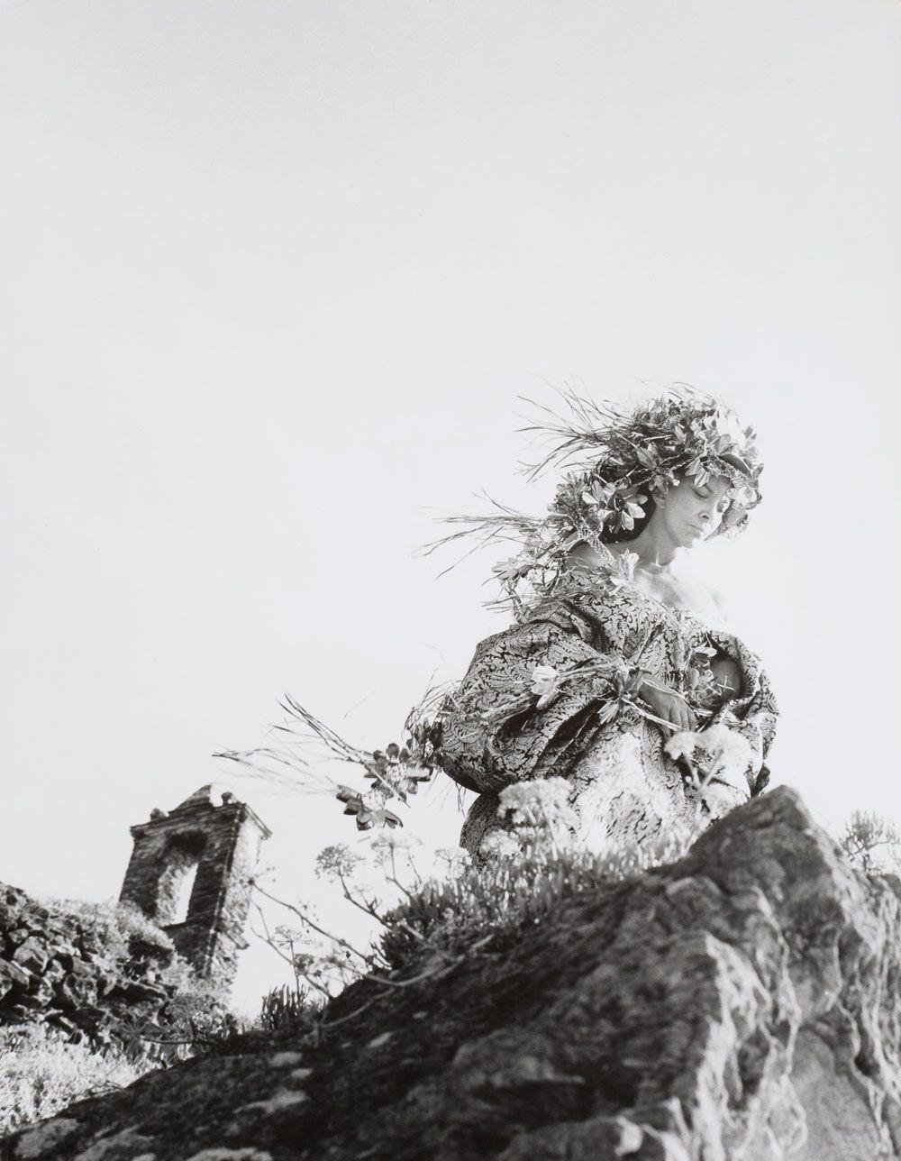 Leonor Fini at the monastery of Nonza, Corse, 1965, photography by Eddy Brofferio