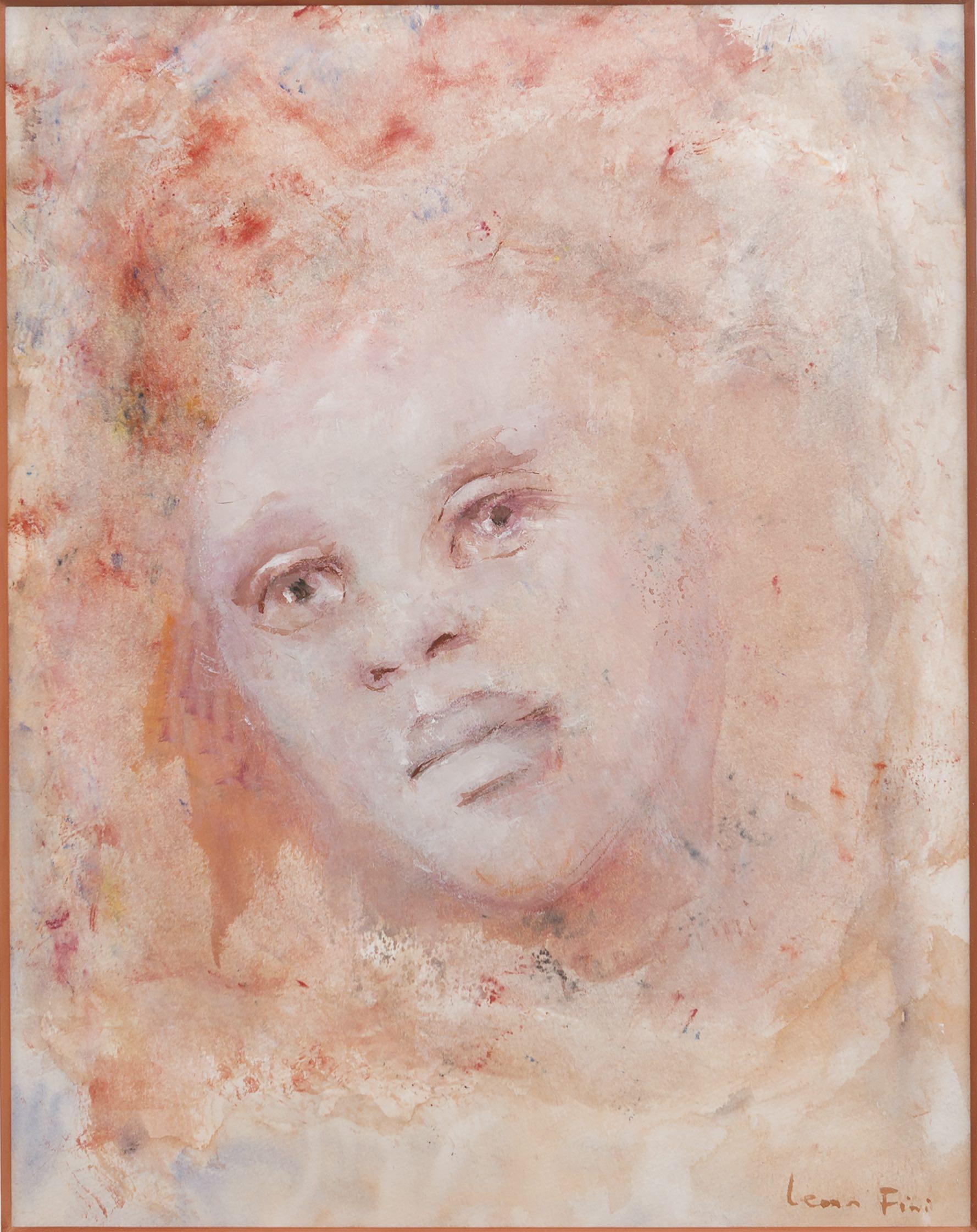 M221 Visage Rose, Portrait de Femme, Gouache et Aquarelle, 44 x 34,5cm