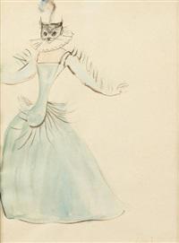 leonor-fini-femme-au-masque-de-chat,-robe-bleue